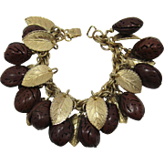 Gorgeous Napier Leaf and Polished Nut Charm Bracelet - Unusual and HTF