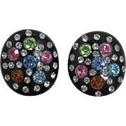 Black Thermoplastic Earrings with Pastel Rhinestones