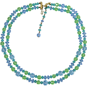 Lisner Two Strand Green, Blue, Aquamarine Crystal Necklace