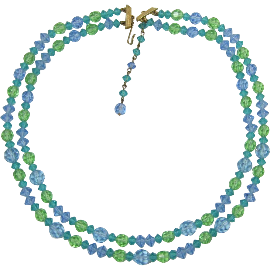 Lisner Pastel Green, Blue, Aquamarine Crystal Necklace