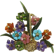 Gorgeous Swoboda Flower Arrangement Brooch with Semi-Precious Stones