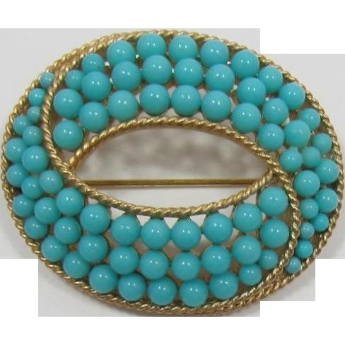 Trifari Turquoise Beaded Brooch