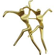 Scuptural Dancing Couple Figural Brooch