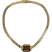 Monet Bright Gold-tone Necklace with Smoky Topaz Cushion-Cut Stone