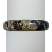 Chinese Enameled Bangle Bracelet - Beautiful and Unusual Coloration