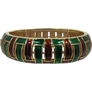 Trifari Brown and Green Enameled Hinged Bracelet