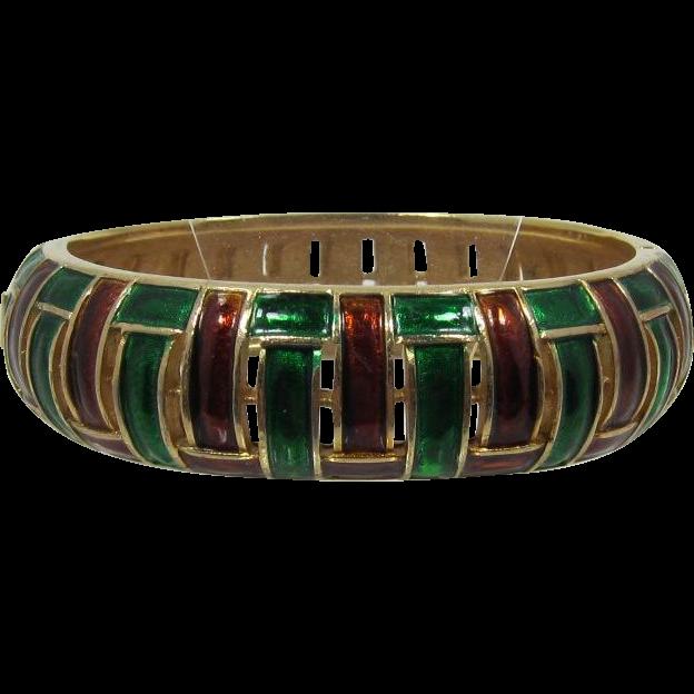 Trifari Brown and Green Enameled Hinged Bracelet