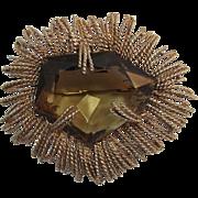 Modernist Brooch with Huge Smoky Topaz Glass Stone