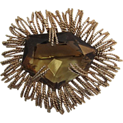 Modernist Brooch with Huge Smoky Topaz Glass Stone