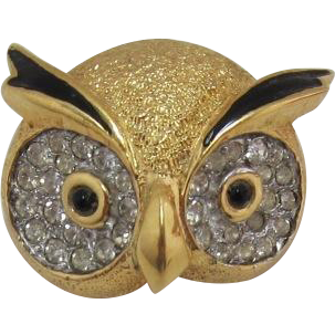 "Signed ""Jomaz"" Owl Head Figural Pin"