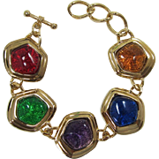 "Dramatic Avon ""Caprianti"" Bracelet with Jewel Tone Stones"
