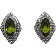 Whiting & Davis Nouveau Style Earrings with Large Olivine Green Rhinestones