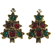 Pakula Green and Red Rhinestone Christmas Tree Earrings