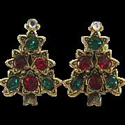 Pakula Green and Red Rhinestone Christmas Tree Earrings