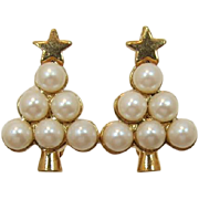 Avon Gold-tone and Imitation Pearl Christmas Tree Earrings
