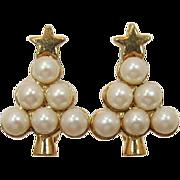 Avon Gold-tone and Imitation Pearl Christmas Tree Earrings