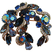 Sapphire Blue, Sky Blue Navette and Pear-Shaped Rhinestone Brooch