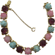 Gold-tone Bracelet with High-Domed Turquoise, Pink and Purple Cabochons