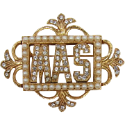 "Beautiful ORA Vintage Frame Pin with Initials ""MAS"""