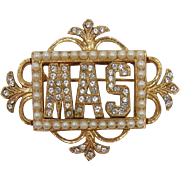 """ORA Beautiful Vintage Frame Pin with Initials """"MAS"""""""