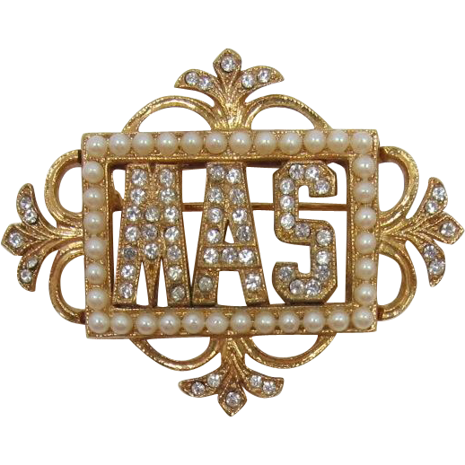 "ORA Beautiful Vintage Frame Pin with Initials ""MAS"""
