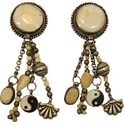 Tibet-Style Yin and Yang Dangling Bone and Silver Metal Earrings