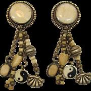 Tibet-Style Yin and Yang Dangling Bone and Silver Metal Earrings