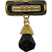 Striking Gold-tone and Black Dangling Brooch - Unsigned Robert Rose