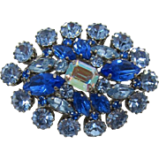 Sparkling Domed Brooch of Blue and Light Blue Swarovski Rhinestones
