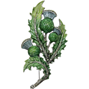 Signed BJL Enamel and Marcasite Thistle Brooch