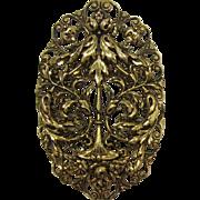 Bright Antique Gold-tone Foliate Brooch/Pendant