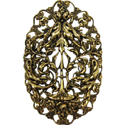 Bright Antique Gold-tone Foilate Brooch/Pendant