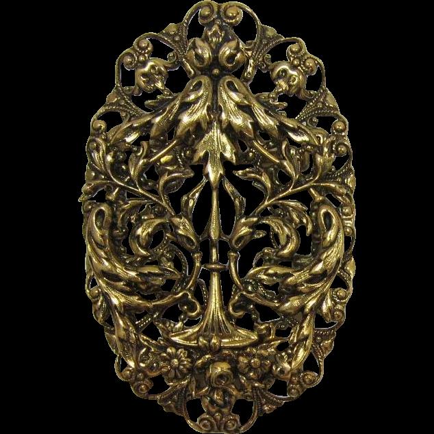 Bright Antique Gold-tone Foilate Brooch/Pendant