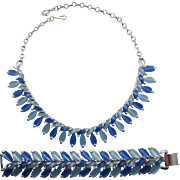 Coro Thermoplastic Necklace and Wide Bracelet in Blues