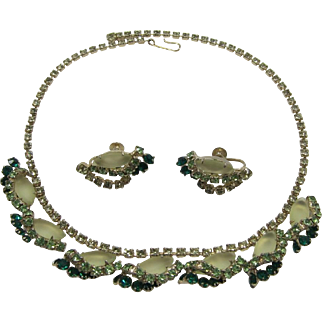 Pale Yellow and Green Rhinestone Necklace and Earrings Set