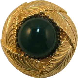 Signed Sphinx High-Domed Gold-tone and Green Cabochon Brooch