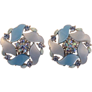 Two-Tone Blue Thermoplastic and Rhinestone Earrings