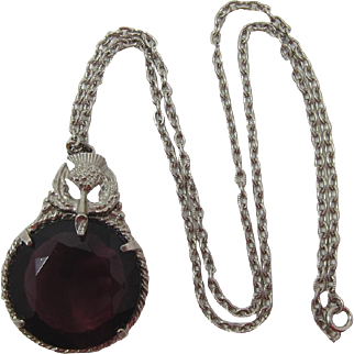 Thistle Pendant Necklace with Huge Deep Purple Stone