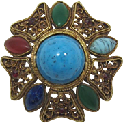High Domed Faux Turquoise Cabochon Pin / Pendant