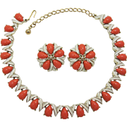 Kramer Orange-Coral Necklace and Earring Set