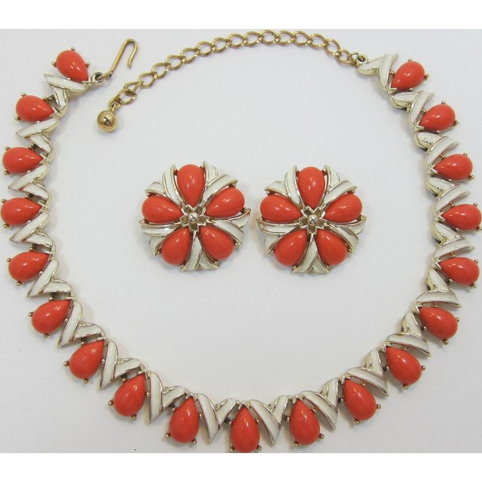 Kramer Orange-Coral Necklace and Earring Set