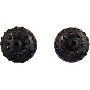 Fab 50's Weiss-Style Black Rhinestone Thermoplastic Earrings