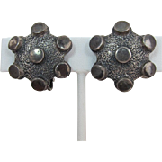 "Vendome Pewter-Colored ""Brutalist"" Earrings"