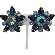 DeLizza and Elster Juliana Blue Navette and Green AB Star Earrings
