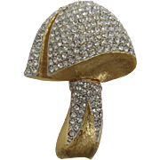 Dimensional Mushroom Pin with Pave' Set Rhinestones