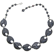 Signed Coro Iridescent Grey Thermoplastic Necklace