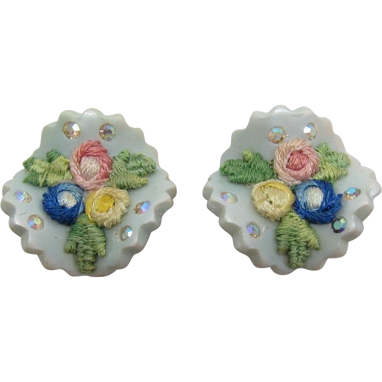 Moonglow Earrings with Colorful Applique Flowers
