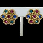 Signed Swarovski Colorful Rhinestone Earrings