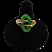 Trifari Gold-tone and Imitation Jade Woman's Ring