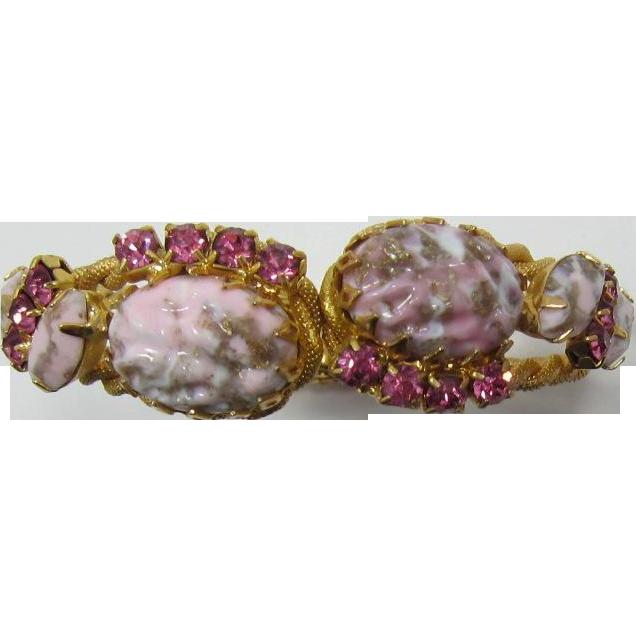 Pretty in Pink (and Grey) Rhinestone Bracelet